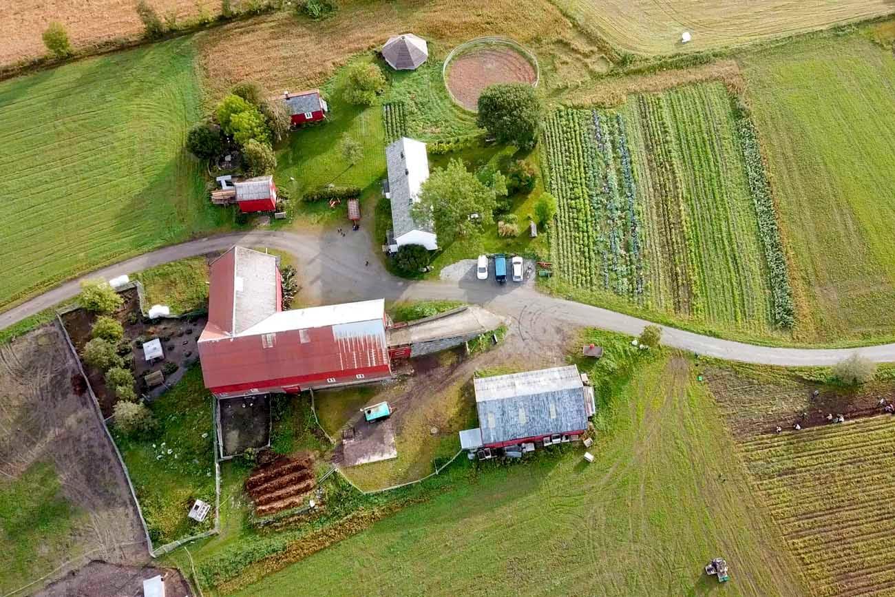 Liten gard sett fra luften. Hus, låve, redskapsbu, stabbur og mastu. Grønnsaksåker og beite.