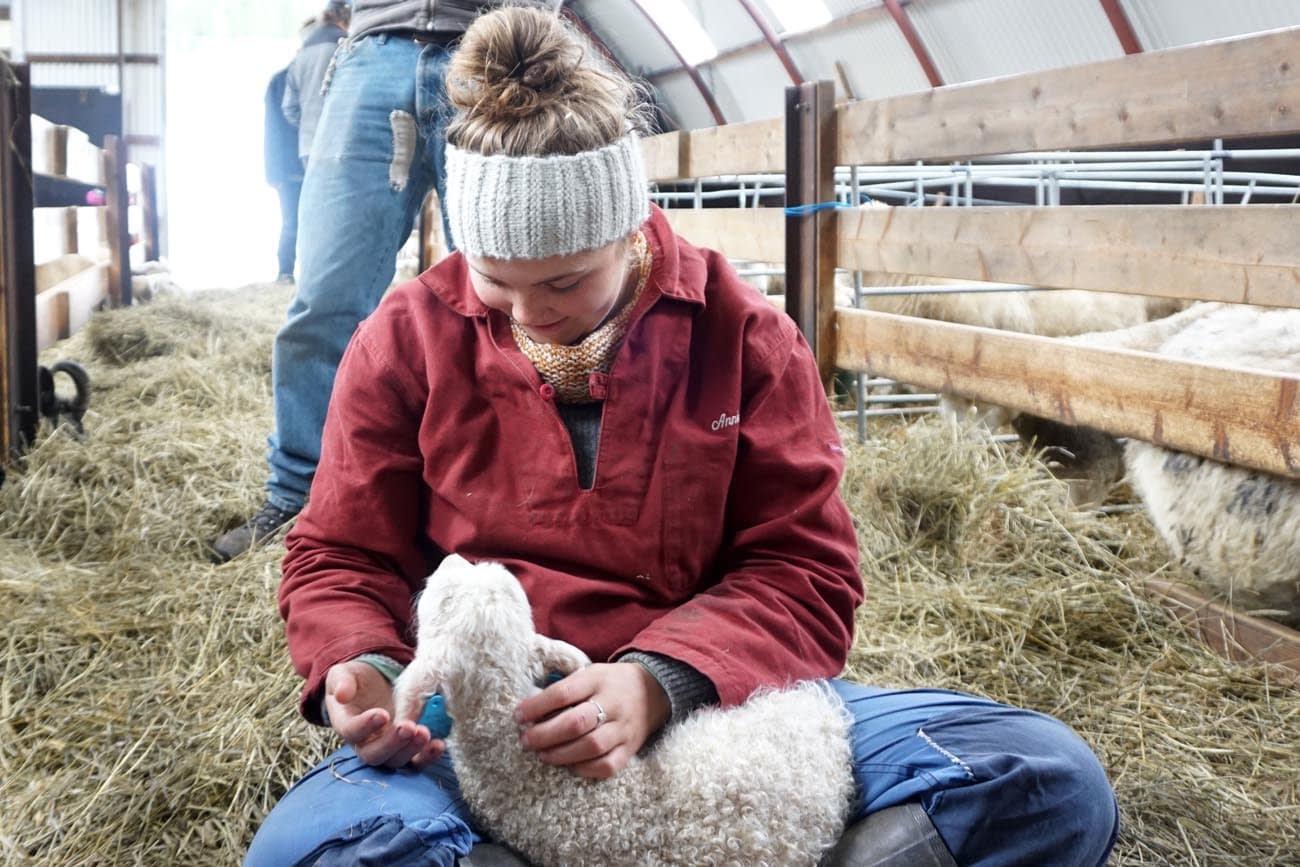 Jente i arbeidstoy sitter i et fjos med et nyfodt lam på fanget.