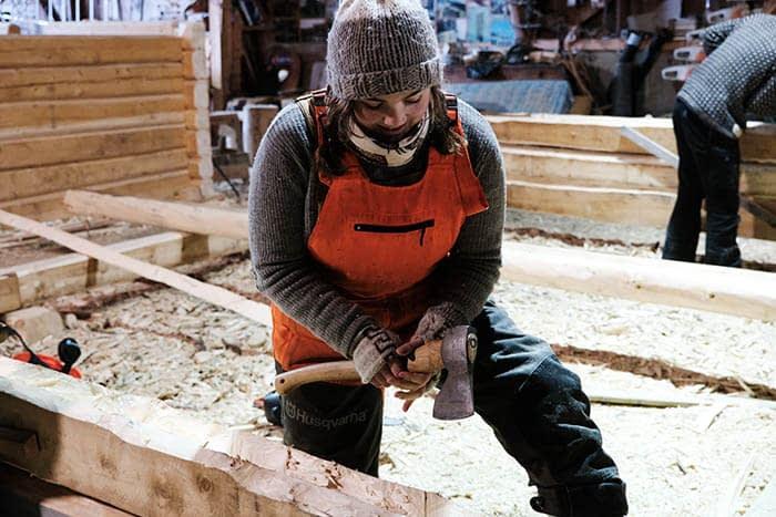 log house building fosen folk school